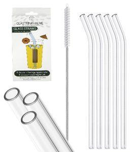 5 gebogene Glas Trinkhalme - klar/durchsichtig - 20 cm lang - Set mit Reinigungsbürste