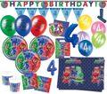 XXL 71 Teile PJ Masks Pyjamahelden zum 4. Geburtstag Party Deko Set 6 Kinder