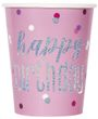 8 Papp Becher Pink Dots Glitzer Happy Birthday