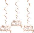 3 hängende Girlanden Roségold Metallic Happy Birthday