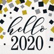 16 Servietten Hello 2020 in Gold Silber und Schwarz