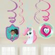 6 hängende Swirl Girlanden + 3 Nella die Ritter Prinzessin Pappschilder
