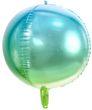 runder Ombre Ballon aus Folie in Blau und Grün 35cm