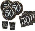 32 Teile zum 50. Geburtstag Gold Glitzer für 8 Personen