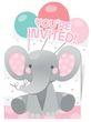 8 Einladungskarten Rosa Baby Elefant