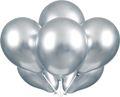 6 glänzende Luftballons in Silber mit Schimmer 27cm