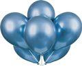 6 glänzende Luftballons in Blau mit Schimmer 27cm