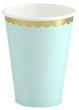 6 Papp Becher Pastell Mint mit Gold Rand