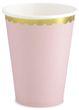 6 Papp Becher Pastell Rosa mit Gold Rand