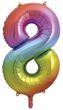 Folienballon Zahl 8 Regenbogen XL 86 cm