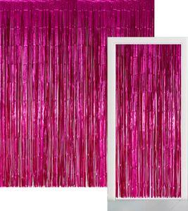 Glitzer Fransen Party Vorhang in Pink Metallic - Fotobox 2,4 Meter lang